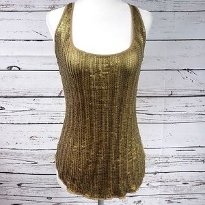 Gold Sequin Cache tank top XS